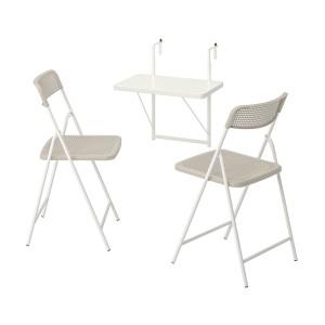 ТОРПАРЁ Стол+2 складных стула, д/сада, белый, бежевый