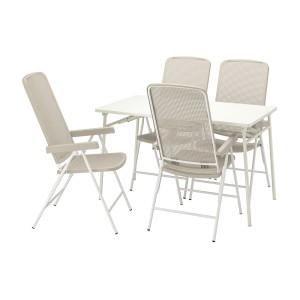 ТОРПАРЁ Стол+4 кресла, д/сада, белый, бежевый