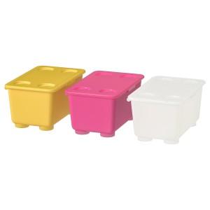 ГЛИС Контейнер с крышкой, розовый/белый, желтый, 3шт