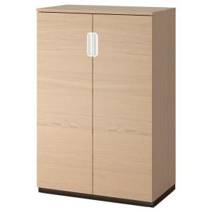 ГАЛАНТ Шкаф с дверями, дубовый шпон, беленый