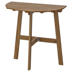 АСКХОЛЬМЕН Пристенный стол, садовый, складной светло-коричневая морилка