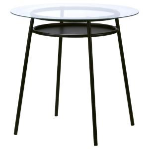АЛЬСТА Стол, стекло, металлический черный