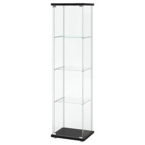 ДЕТОЛЬФ Шкаф-витрина, черно-коричневый