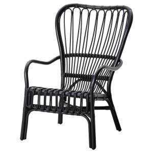 СТУРСЕЛЕ Кресло c высокой спинкой, черный, ротанг