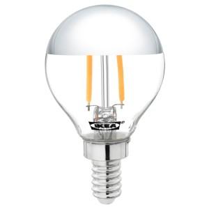 СИЛЛЬБУ Светодиод E14 140 лм, шарообразный, зеркальный верх, серебристый