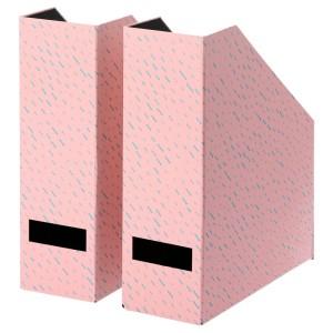 ТЬЕНА Подставка для журналов, розовый, точечный, 2шт