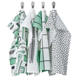 РИННИГ Полотенце кухонное, бел/зелен, с рисунком, 4шт