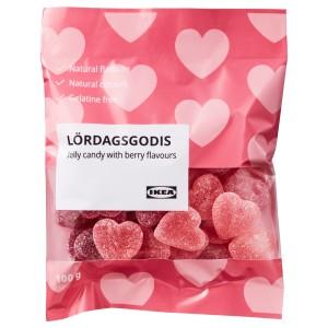 LÖRDAGSGODIS Желейные конфеты, со вкусом ягод, 0.1кг