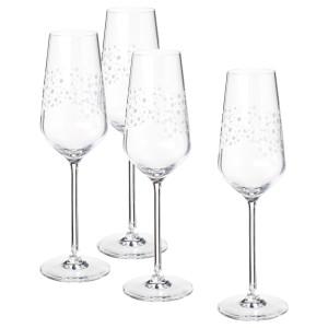 ИНБЬЮДЕН Бокал для шампанского, прозрачное стекло, 4шт
