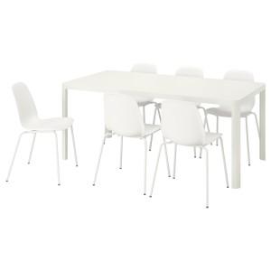 ТИНГБИ / ЛЕЙФ-АРНЕ Стол и 6 стульев, белый, белый