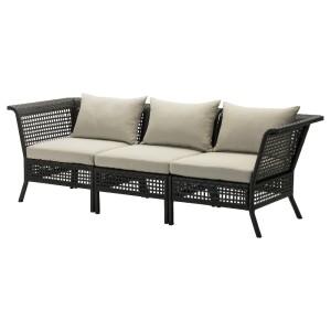 КУНГСХОЛЬМЕН 3-местный модульный диван, садовый, черно-коричневый, Холло бежевый