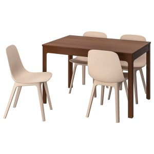 ЭКЕДАЛЕН / ОДГЕР Стол и 4 стула, коричневый, белый бежевый