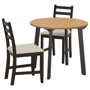 ГАМЛАРЕД / ЛЕРХАМН Стол и 2 стула, светлая морилка антик черно-коричневый, Виттарид Рамна бежевый
