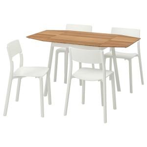 ИКЕА ПС 2012 / ЯН-ИНГЕ Стол и 4 стула, бамбук, белый