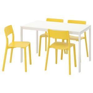 МЕЛЬТОРП / ЯН-ИНГЕ Стол и 4 стула, белый, желтый