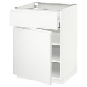 МЕТОД / МАКСИМЕРА Напольный шкаф с ящиком/дверью, белый, Воксторп матовый белый белый