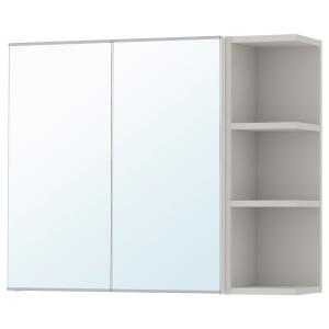 ЛИЛЛОНГЕН Зеркальн шкафч с 2 дврц/1 откр полк, белый, серый