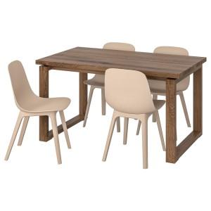 МОРБИЛОНГА / ОДГЕР Стол и 4 стула, коричневый белый, бежевый