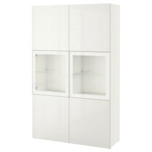 БЕСТО Комбинация д/хранения+стекл дверц, белый, Сельсвикен глянцевый/белый прозрачное стекло