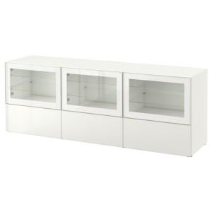 БЕСТО Тумба под ТВ, с дверцами и ящиками, белый, Сельсвикен глянцевый/белый прозрачное стекло