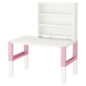 ПОЛЬ Письменн стол с полками, белый, розовый