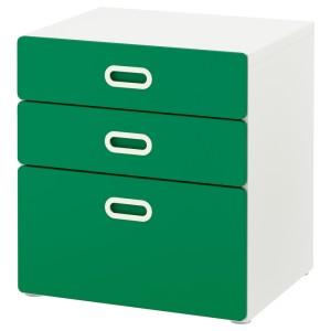 СТУВА / ФРИТИДС Комод с 3 ящиками, белый, зеленый