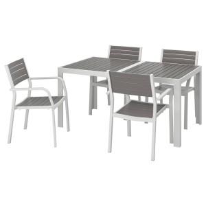 ШЭЛЛАНД Стол+4 кресла, д/сада, темно-серый, светло-серый