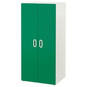 СТУВА / ФРИТИДС Шкаф платяной, белый, зеленый