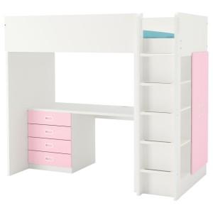 СТУВА / ФРИТИДС Кровать-чердак/4 ящика/2 дверцы, белый, светло-розовый