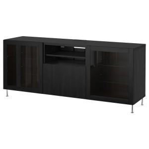 БЕСТО Тумба д/ТВ с ящиками, черно-коричневый, лаппвик/сталларп черно-коричневый прозрачное стекло