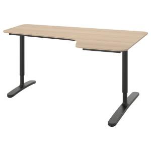 БЕКАНТ Углов письм стол правый, дубовый шпон, беленый, черный