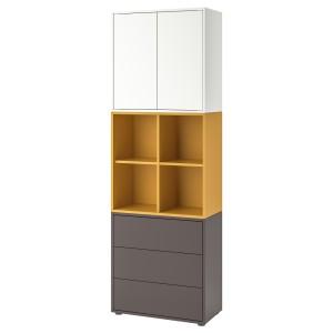 ЭКЕТ Комбинация шкафов с ножками, белый, золотисто-коричневый темно-серый