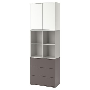 ЭКЕТ Комбинация шкафов с ножками, белый, светло-серый/темно-серый