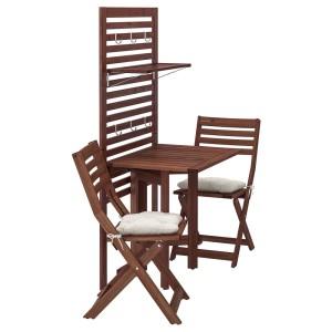 ЭПЛАРО Панель+стол+2 стула, коричневая морилка, Куддарна бежевый