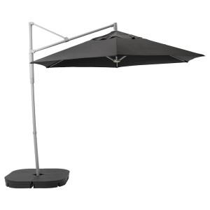 ОКСНЭ / ЛИНДЭЙА Зонт от солнца с опорой, черный, Сварто темно-серый