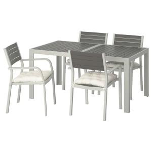ШЭЛЛАНД Стол+4 кресла, д/сада, темно-серый, Куддарна бежевый