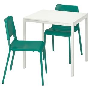 МЕЛЬТОРП / ТЕОДОРЕС Стол и 2 стула, белый, зеленый