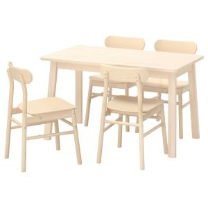 НОРРОКЕР / РЁННИНГЕ Стол и 4 стула, береза, береза