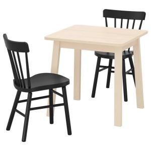 НОРРОКЕР / НОРРАРИД Стол и 2 стула, береза, черный