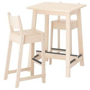 НОРРОКЕР / НОРРОКЕР Барный стол и 2 барных стула, береза береза