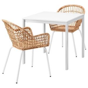 МЕЛЬТОРП / НИЛЬСОВЕ Стол и 2 стула, белый, ротанг белый