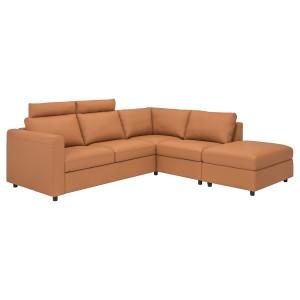 ВИМЛЕ 4-местный угловой диван, с открытым торцом с подголовниками, Гранн/Бумстад золотисто-коричневый