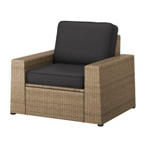 СОЛЛЕРОН Садовое кресло, коричневый, ЙЭРПОН/дувхольмен антрацит