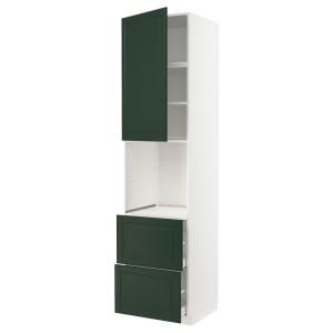 МЕТОД / МАКСИМЕРА Высок шкаф д духов+дверь/2 ящика, белый, Будбин темно-зеленый