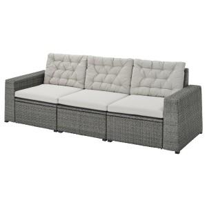 СОЛЛЕРОН 3-местный модульный диван, садовый, темно-серый, Куддарна серый