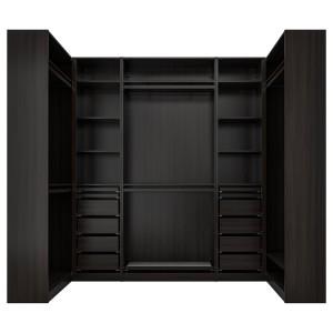 ПАКС Гардероб угловой, черно-коричневый