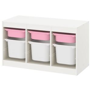 ТРУФАСТ Комбинация д/хранения+контейнеры, белый розовый, белый