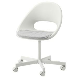 ЛОБЕРГЕТ / БЛИСКЭР Рабочее кресло c подушкой, белый, светло-серый