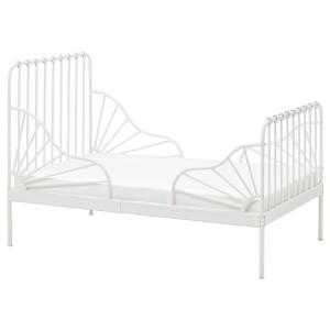 МИННЕН Раздвижная кровать с реечным дном, белый
