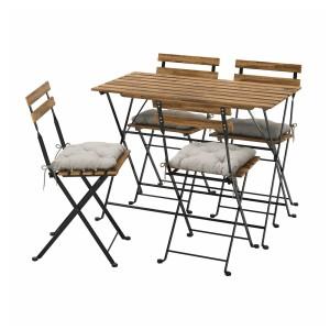 ТЭРНО Стол+4 стула, д/сада, черный/светло-коричневая морилка, Куддарна серый